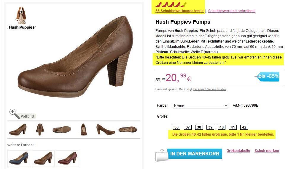Schuhgröße Zusatzinformation