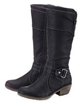 Schwarze Stiefel mit Schnalle und hohem Schaft