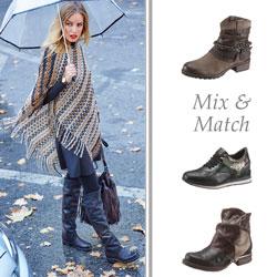 Der Mix-und Match-Look kombiniert verschiedene Materialien und Farben und schafft somit ein aufregendes Schuhwerk.