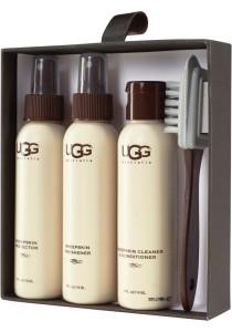 Pflege-Sets der Marke UGG enthalten drei verschiedene Pflegematerialien und eine Bürste.