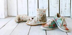Die Schuhe von Dogo fallen mit ihren bunten und außergewöhnlichen Prints auf.