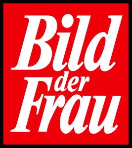 """Das Logo der """"Bild der Frau"""" ist die typische weiße Schrift auf rotem Grund."""