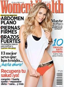 Das Women's Health Cover zeigt das Logo der Zeitschrift, die Überschriften der bedeutendsten Artikel und ein Titelgirl.