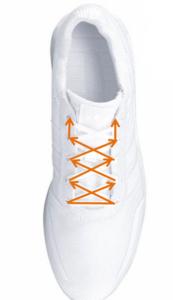 Diese Schnürung verstärkt den Halt im Schuh.