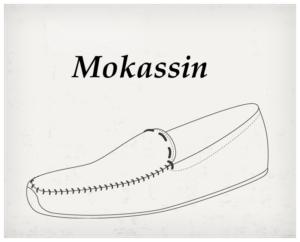Der Schuhschaft des Mokassin für um den Fuß und an der Obeseite auffällig vernäht