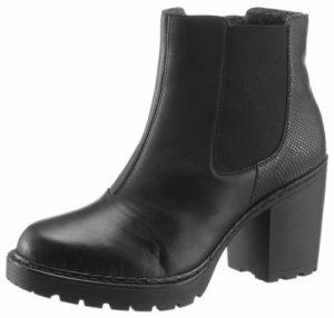 Schwarze Chelsea Boots in Schwarz mit Absatz