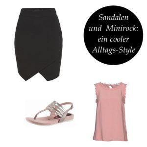 Sandalen und Minrock: ein cooler Alltags-Style