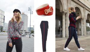 Besonders stylisch: Accessoires in der trendfarbe Rot kombiniert mit dunkelblau!