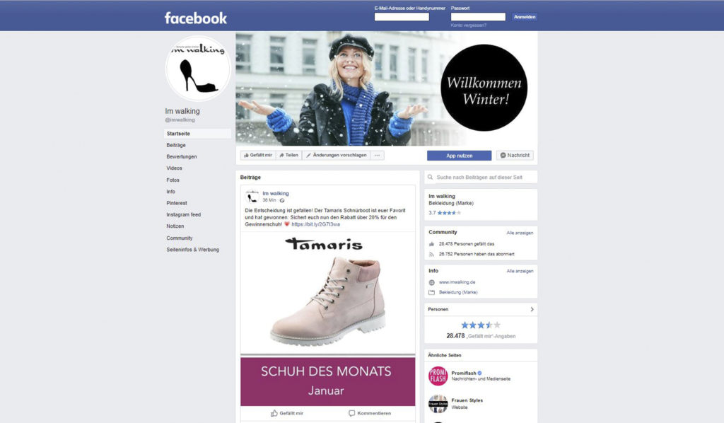 I'm walking auf Facebook